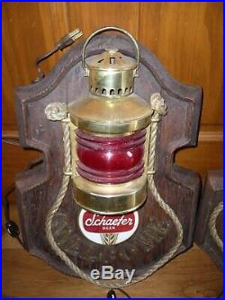 Vintage Schaefer Beer Nautical Light Set With Clock Red Green free shipping