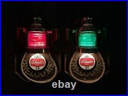 Vintage Schaefer Beer Nautical Welcome Lighted Bar Signs Set Of 2 Green & Red