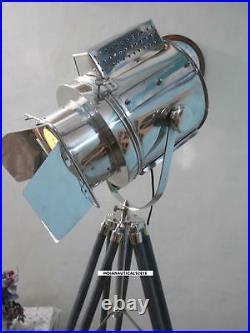 Vintage Searchlight Floor lamp W / Grey Wooden Tripod Stand Floor Spot Light
