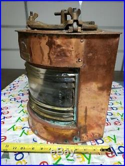 Vintage Ship Light, Copper, Brass, Lamarads, Pollockshaws, RI, Glascow, KINDAT, Left