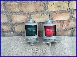 Vintage Ship Red Green Glass Electified Boat Lights Maritime Nautical 1975
