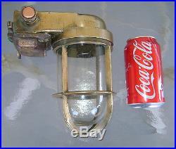 Vintage Ship Salvaged Hallborn Brass Nautical Light Rewired & Ready To Install