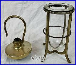 Vintage Ship's Hook Lights x4, Hanging, Brass, Nautical, Industrial, Well Shade