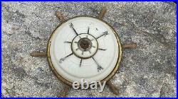 Vintage Ship's Wheel & Compass Nautical Ceiling Light Fixture