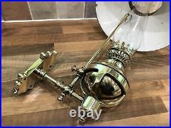 Vintage Ships Brass Bulkhead Lamp Light Shade & Funnel Maritime Nautical Boat