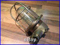 Vintage Ships Brass Deck Engine Bulkhead Cage Light Nautical Maritime Marine