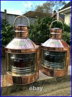 Vintage Ships Lights. Port & Starboard Lamps Nautical Marine Lanterns Boat Brass