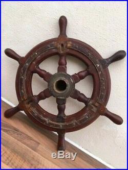 Vintage Ships Wheel. Boat Yacht Wooden & Brass Light Varnish Marine Nautical