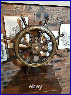 Vintage Ships Wheel. Light Brass Boss. Mahogany Wheel Marine Nautical Boat