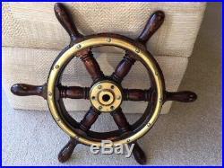 Vintage Ships Wheel. Light Wood. Brass Wood Boat Yacht Marine Nautical