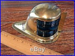 Vintage Small Perko Brass Bow Light, Red/green Glass Lens New Socket/led Bulb