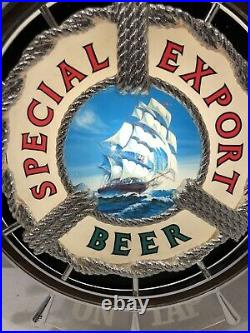 Vintage Special Export Lighted Beer Sign Nautical Ships Wheel On Tap