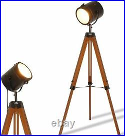 Vintage Spotlight Reading Lamp with Wooden Metal LegsNautical Searchlight Floor