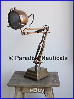 Vintage Steampunk Military Drafting Floating Table Desk Lamp Light Industrial