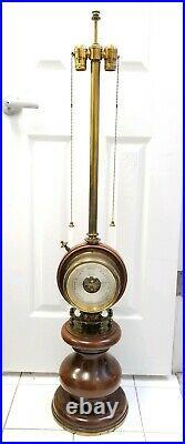 Vintage Stiffel Nautical Style Bronze & Oak 2 Light Lamp withClock & Barometer
