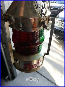 Vintage Strohs Beer Advertising Lantern Hanging Light Plastic Brewery Nautical