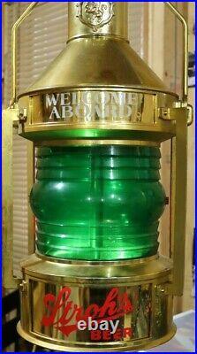 Vintage Strohs Beer Rotating Spinning Motion Lantern Nautical Bar Lighted Sign