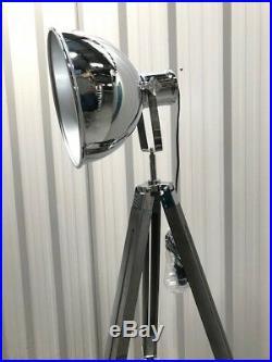 Vintage Studio Tripod Floor Lamp Nautical Spotlight Light Home Office Black Grey