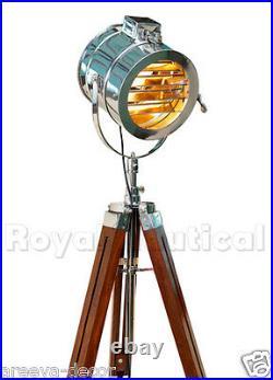 Vintage Style Spot light Searchlight Wooden Tripod Floor Lamp Lighting -USED