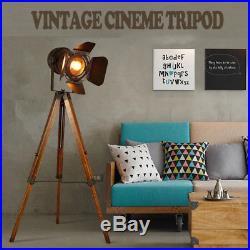 Vintage Tripod Floor Lamp, Nautical Retro Spotlight, Industrial Decor Wooden Light