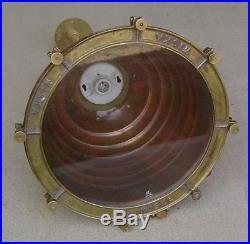 Vintage Unpolished Weathered Wiska Hanging Nautical Pendant Beehive Light