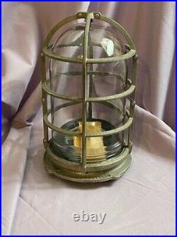 Vintage Unused Russell & Stoll Marine Explosion Proof Cage Lamp Light