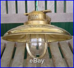 Vintage WISKA Brass Ship's Ceiling Light With Deflector Cover