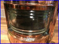 Vintage WW2 Copper & Brass Ships Starboard Oil Lamp Light Maritime Maritime