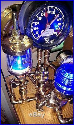 Vintage WWII Navy Destroyer Oil Gauge Glowing Oilers PERKO Light Brass Spigots