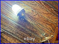 Vintage Wilcox Crittenden Brass 11 Stern Light, Ribbed Glass, New Wiring/led