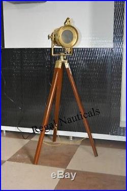 Vintage Wooden Tripod Floor Lamp Nautical Bedroom Dim Light Desk Lamp Home Decor