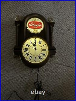 Vintage and Rare Schaefer Beer Nautical Beer Clock and Light