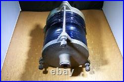 Vintage brass blue maritime light, very good condition, no internal light socket