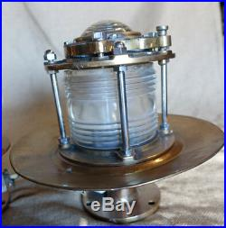 Vintage brass ship pedestal marine dock light-Vintage pedestal ship light pair