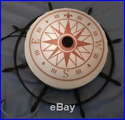 Vintage c1950s Nautical Ceiling LampLightGlass Compass ShadeBrass Ships Wheel