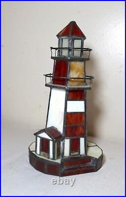 Vintage handmade stained glass nautical light house electric table lamp