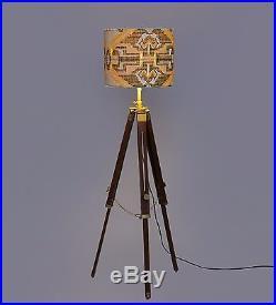 Vintage industrial DESIGNER Chrome Nautical SPOT LIGHT Tripod Floor LAMP