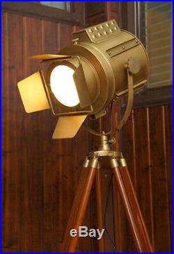 Vintage industrial DESIGNER Rustic Nautical SPOT LIGHT Tripod Floor LAMP