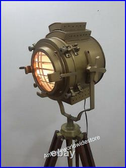 Vintage industrial Nautical Spot Light Floor Lamp Tripod Home Decor