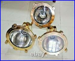 Vintage marine brass & copper old spot light original lot of 3 pieces