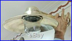 Vintage marine brass ship nautical wall passageway light 100% original 2 piece