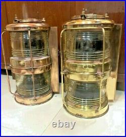Vintage nautical marine ship brass electric japanes transparent full round light