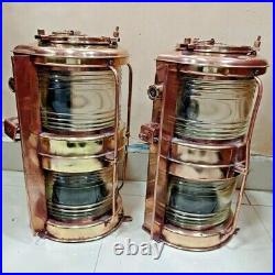Vintage nautical marine ship brass old japanes electric light 2 pieces