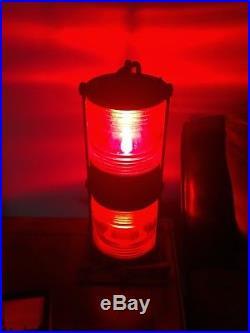 Vintage pair Perko Marine double bridge lights solid brass Red & Green nautical