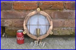 Vintage ships light brass bronze bulkhead nautical industrial lamp FREE POST