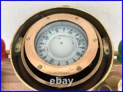 Vintage ships light brass / wood binnacle compass. Yacht boat Nautical Display
