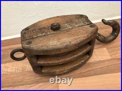 Vintage ships light oak Double Pulley wooden Block. Yacht boat maritime Nautical