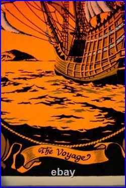 Voyage (Sailing Ship) Vintage Black Light Velvet Poster 1972