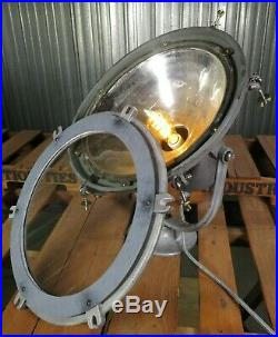 Vtg 1920s 20 CAST METAL SPOT LIGHT industrial maritime mercury glass lamp