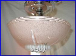 Vtg Antique Art Deco 30s Red Pink Nautical Star Light Glass Shade Chrome Fixture